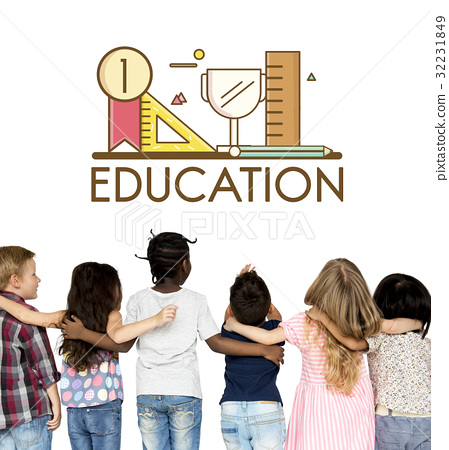 Group of students education with stationery illustration 32231849