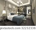 luxury modern bedroom suite in hotel with wardrobe 32232336