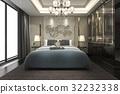luxury modern bedroom suite in hotel with wardrobe 32232338