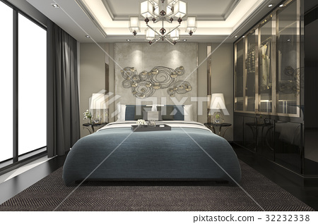 luxury modern bedroom suite in hotel with wardrobe 32232338