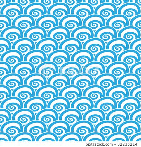 seamless Traditional japanese seigaiha ocean wave 32235214