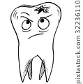 Cartoon Vector of Decayed Carious Tooth 32236110