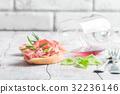 面包片 意大利熏火腿 红色 32236146