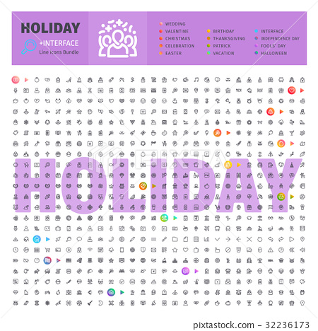 Holyday Thematic Collection of Line Icons 32236173