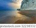 White cliffs on the Jurassic Coast at sunset, UK 32236332