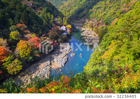 Autumn at Arashiyama view point and Hozu river 32236405