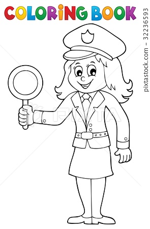 Coloring book policewoman image 1 32236593