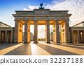 The Brandenburg Gate in Berlin at sunrise, Germany 32237188