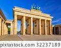 The Brandenburg Gate in Berlin at sunrise, Germany 32237189