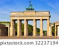 The Brandenburg Gate in Berlin at sunrise, Germany 32237194