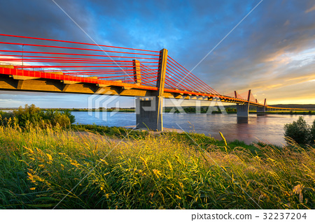 Cable stayed bridge over Vistula river in Poland 32237204