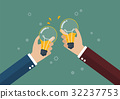 Businessmen toasting a lightbulb with beer inside 32237753