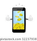 Cute cartoon smart-phone receiving money coin. 32237938