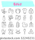 baby hand drawn doodle icon set 32240231
