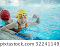 happy children kids group at swimming pool class 32241149