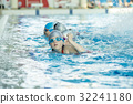 happy children kids group at swimming pool class 32241180
