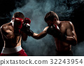Two professional boxer boxing on black smoky 32243954