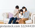 ภาพวาดมือ ครอบครัว,ไอ,ไข้หวัด 32244439