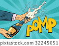 opening champagne bottles pop art 32245051