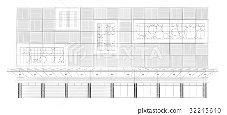 abstract sketch design of exterior building 32245640