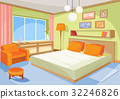 Vector cartoon illustration interior orange-blue 32246826
