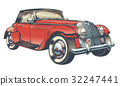 Vector vintage illustration of red retro car in 32247441