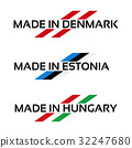 Vector set logos Made in Denmark, Made in Estonia 32247680