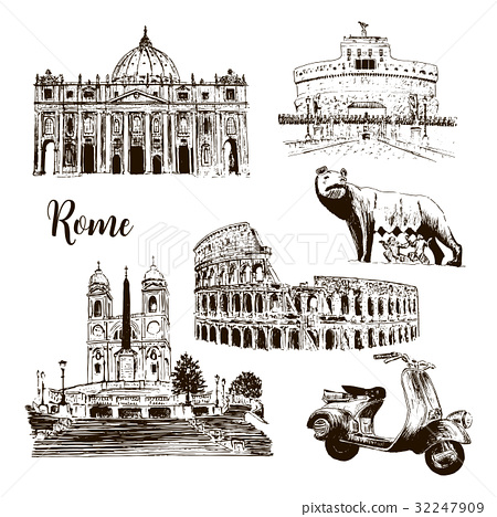 Rome architectural symbols: Coliseum, wolf  32247909