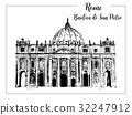 Rome cityscape with St. Peter Cathedral. Italian  32247912