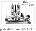 vector sketch of The Spanish Steps in Rome. 32247913