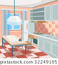 Vector cartoon illustration of a kitchen interior 32249105
