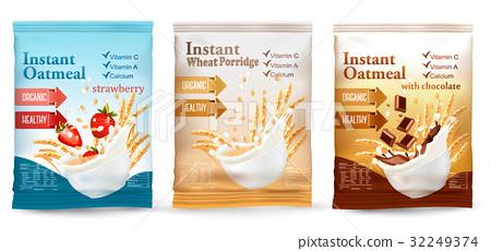 Instant porridge advert concept. Desing template. 32249374
