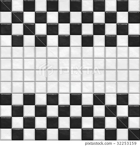鮮豔細緻的浴室/泳池瓷磚特寫材質紋理背景,俯視圖(無縫接圖,高解析度 3D CG 渲染∕著色插圖) 32253159