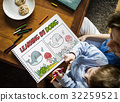 Young boy working on drawing pad network graphic overlay with parent 32259521