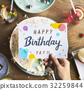 Birthday Cake with Wishing Card Celebration Party 32259844