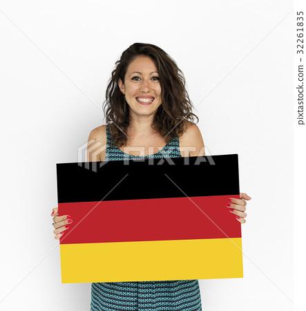 Woman Hands Hold Germany Deutschland Flag Patriotism 32261835