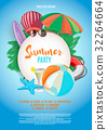 Summer vector banner design template in beach 32264664