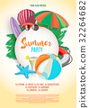 Summer party vector banner design with white 32264682