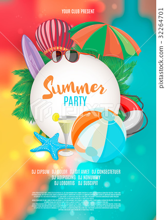 Summer vector banner design with white circle for 32264701