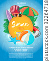 Summer vector banner design template in beach 32264718