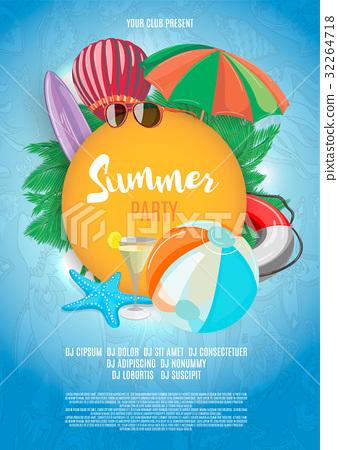 Summer vector banner design template in beach 32264718