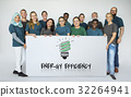 People holding banner network graphic overlay 32264941