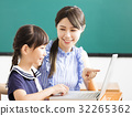 young Teacher helping child with computer lesson 32265362