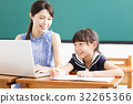 young Teacher helping child with computer lesson 32265366