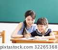 young Teacher helping child with writing lesson. 32265368