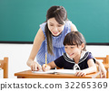 young Teacher helping child with writing lesson. 32265369