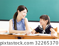 young Teacher helping child with writing lesson. 32265370