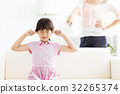 little girl covering her ears  and mother angry 32265374