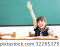 happy little girl  raised hands in classroom 32265375