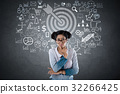 Shocked woman with dart target and business icons 32266425